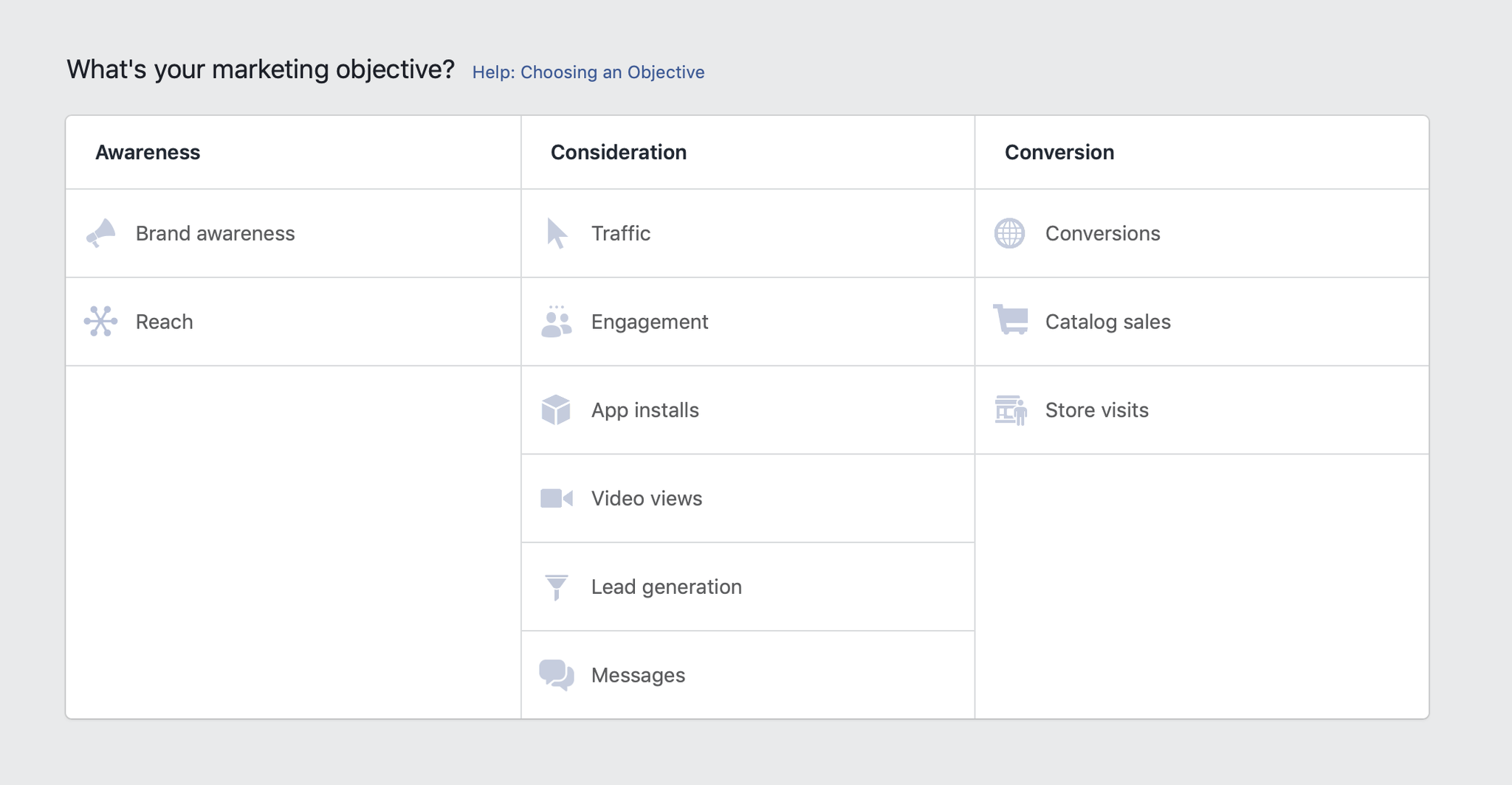 Facebook campaign marketing objective