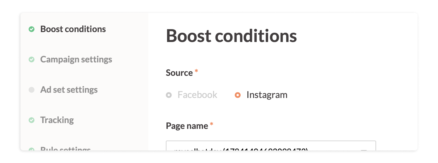 Boost Conditions - Revealbot Instagram Auto-boosting