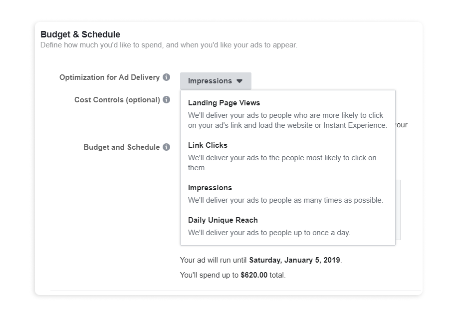 Ads Set budget and schedule