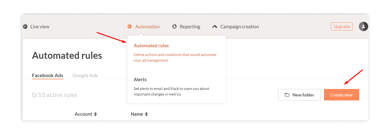 Create new automated rule