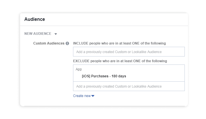 Exclude app audience