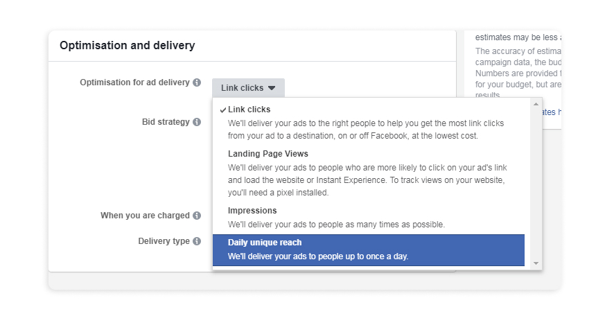 Optimize Facebook ad delivery for daily unique reach