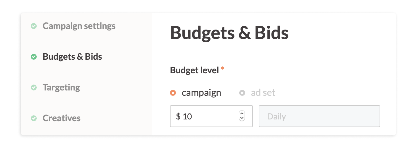 Campaign level budget