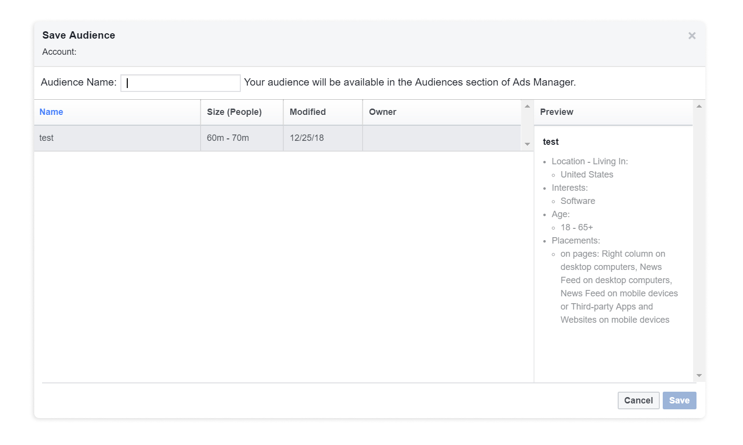 How to save audiences in Facebook Audience Insights