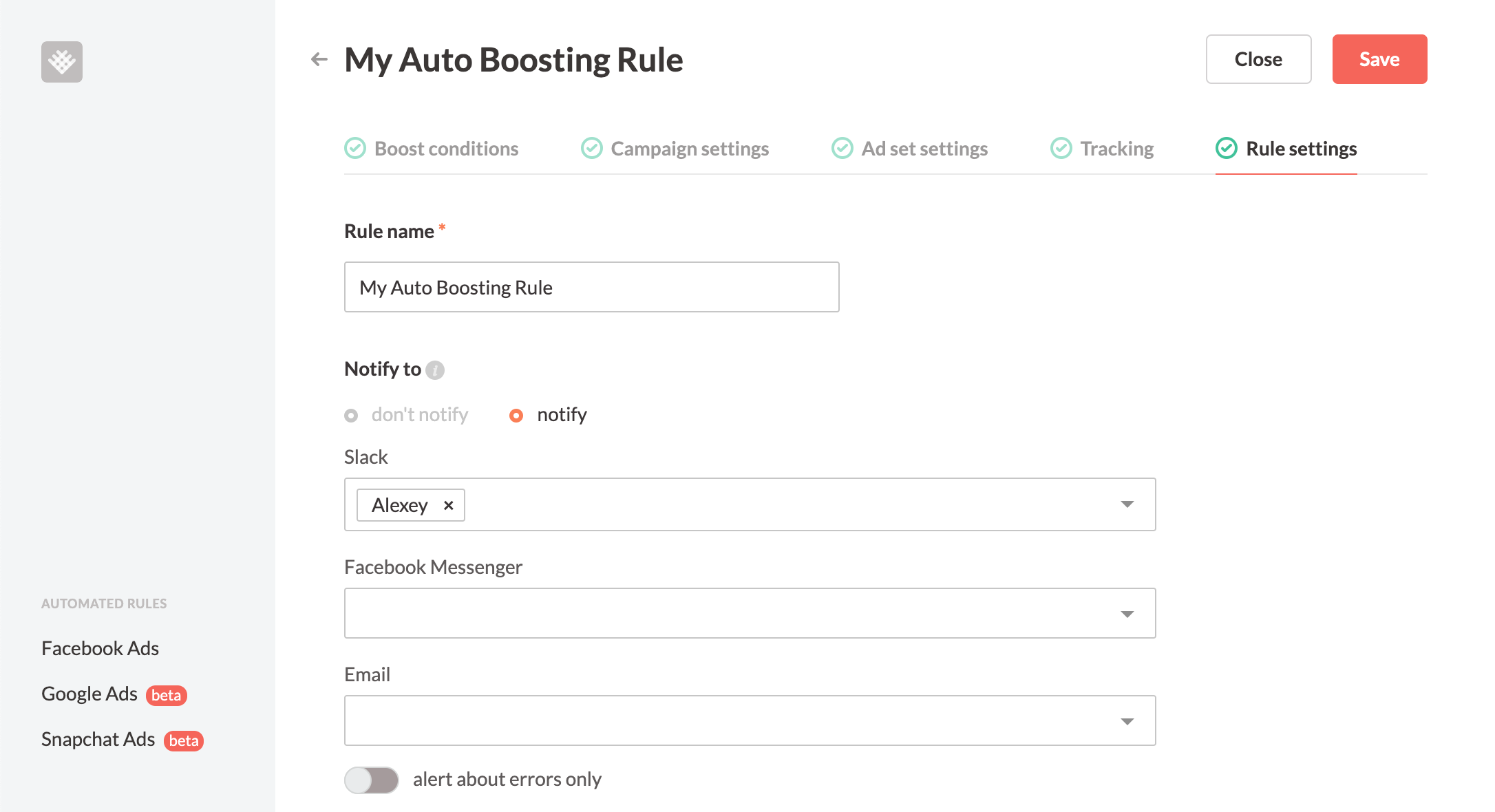 Revealbot auto boosting rule settings