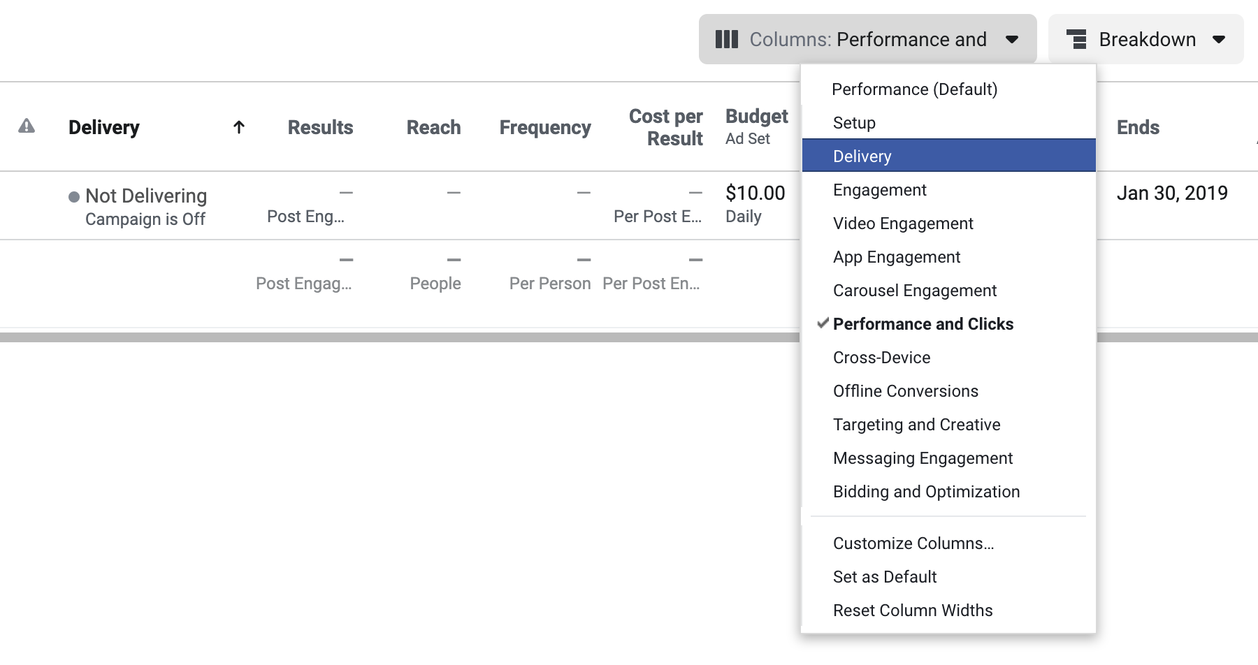 List of pre built column layouts in Facebook Ads Manager