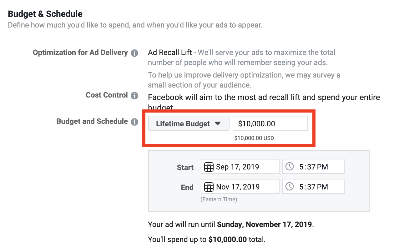 Set Facebook ad set budget to lifetime budget