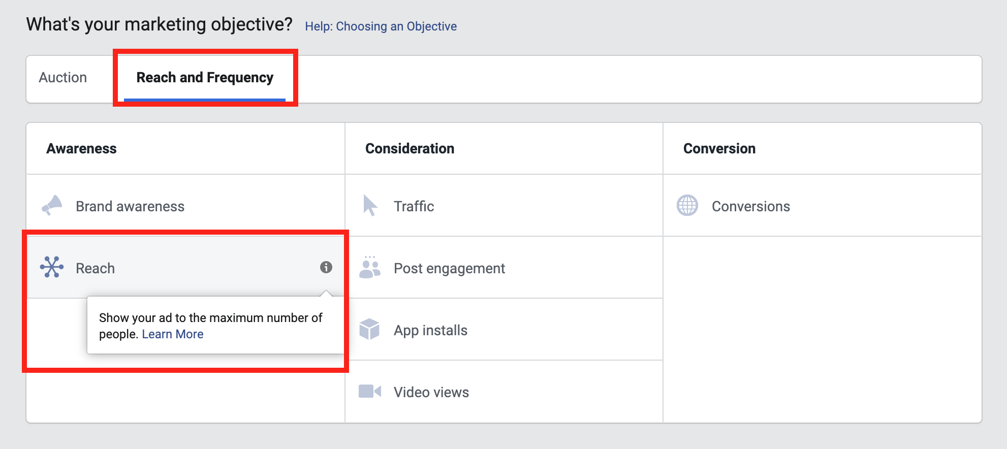 Facebook ad reach campaign objective