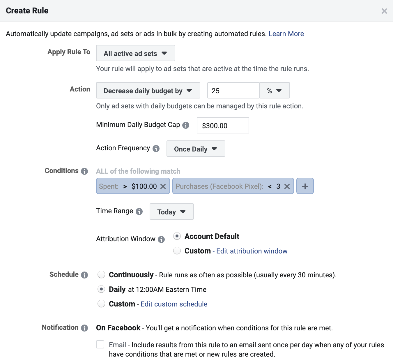 Facebook automated rule to decrease an ad set's budget