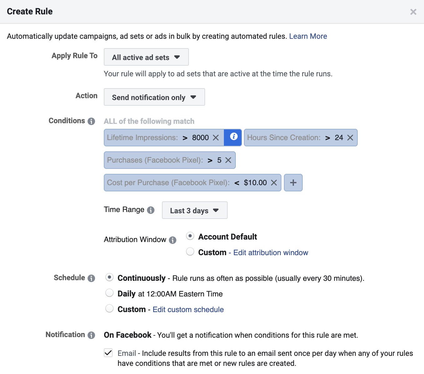 Facebook automated rule to notify an set is ready to be duplicated