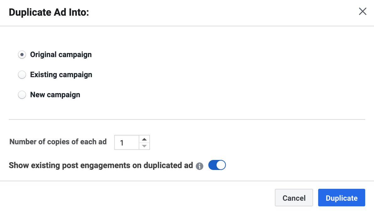 Option when duplicating a Facebook Ad