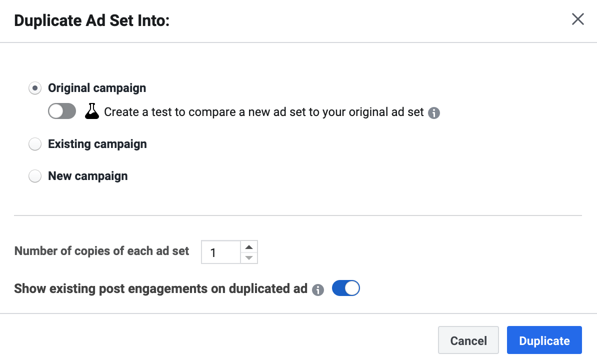 Options when duplicating a Facebook Ad Set