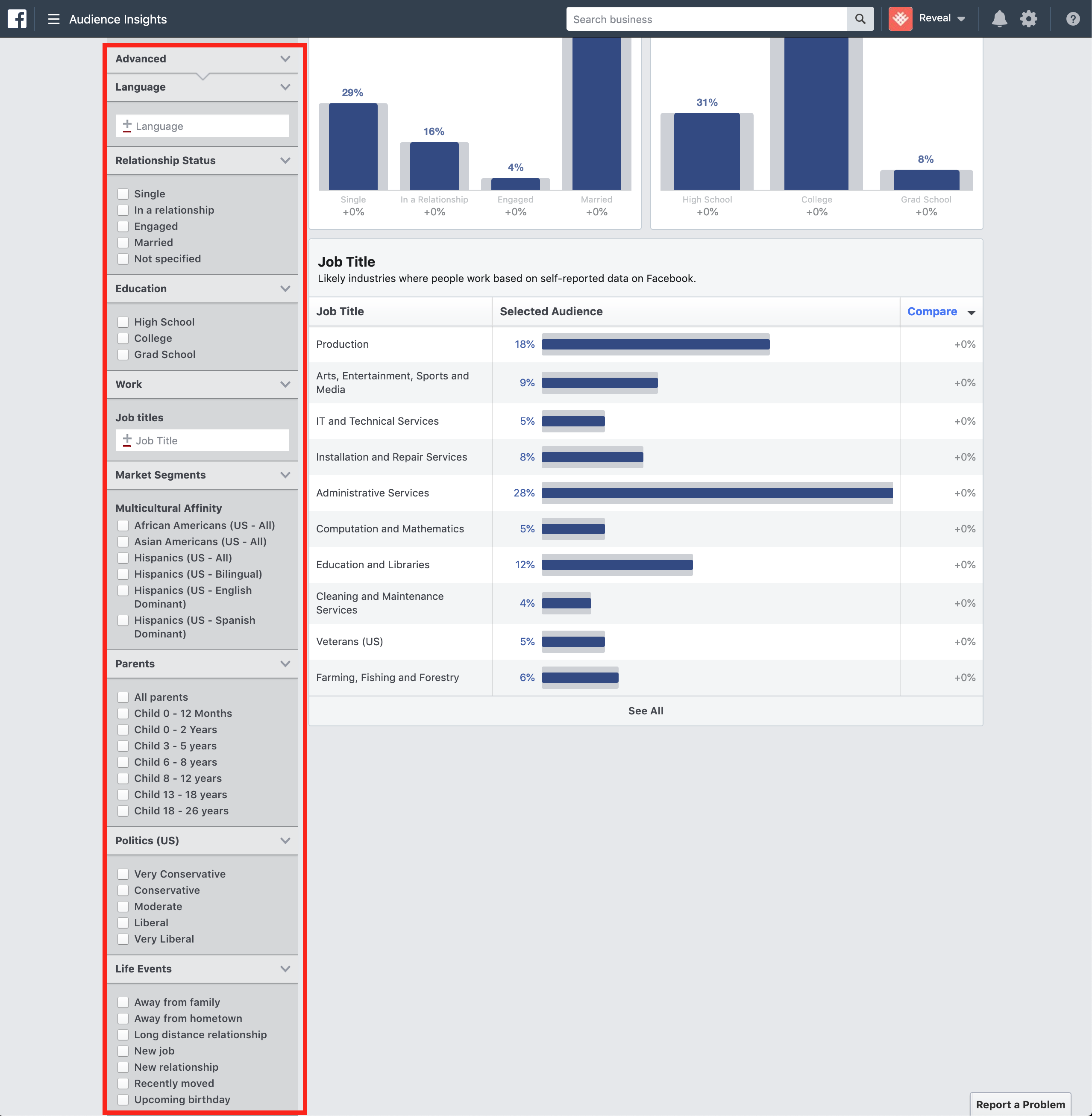Advanced filters available to narrow your audience in Facebook Audience Insights