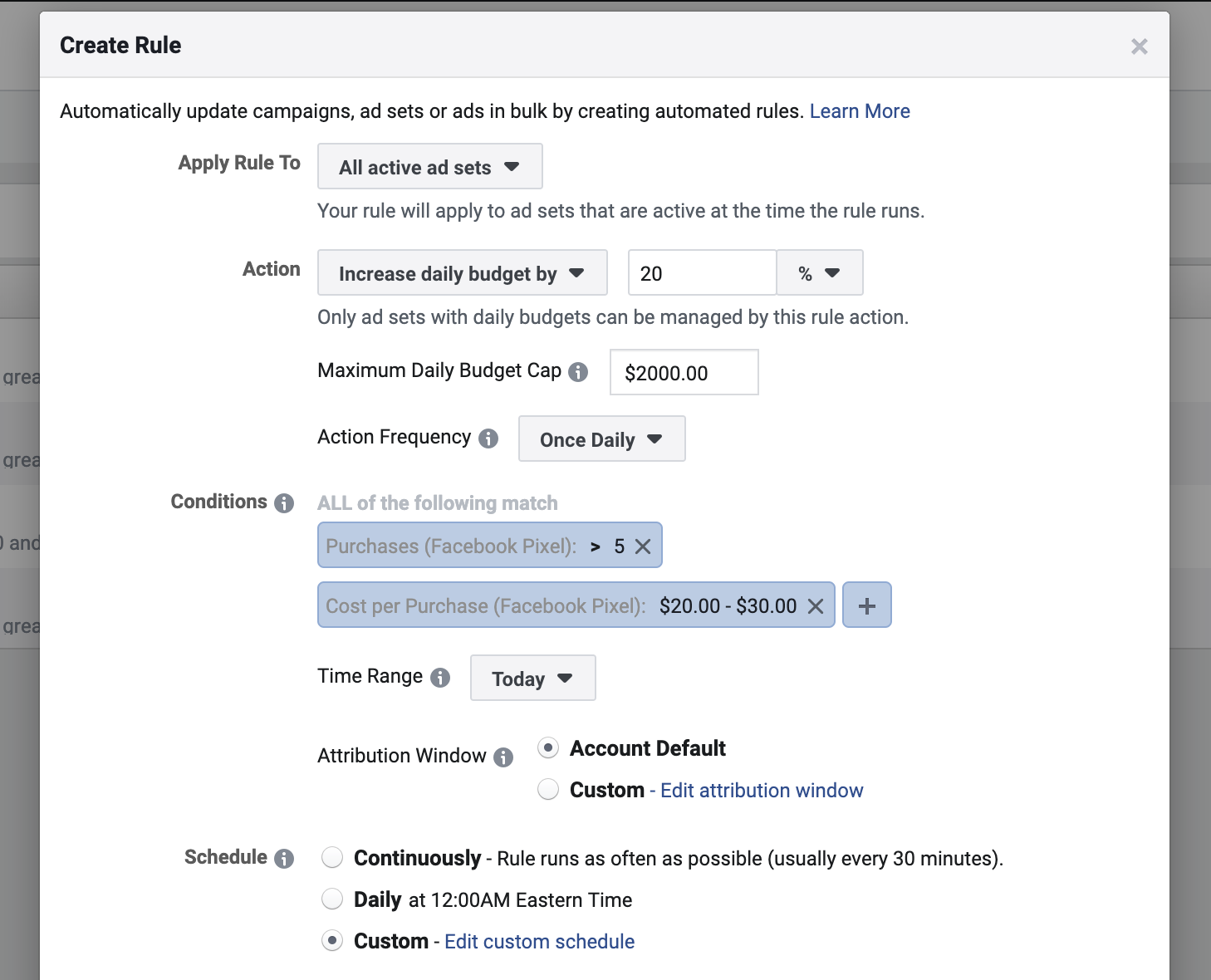 Facebook Automated Rule to scale Facebook Ad campaigns