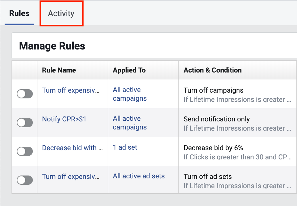 Facebook Automated Rule Activity History