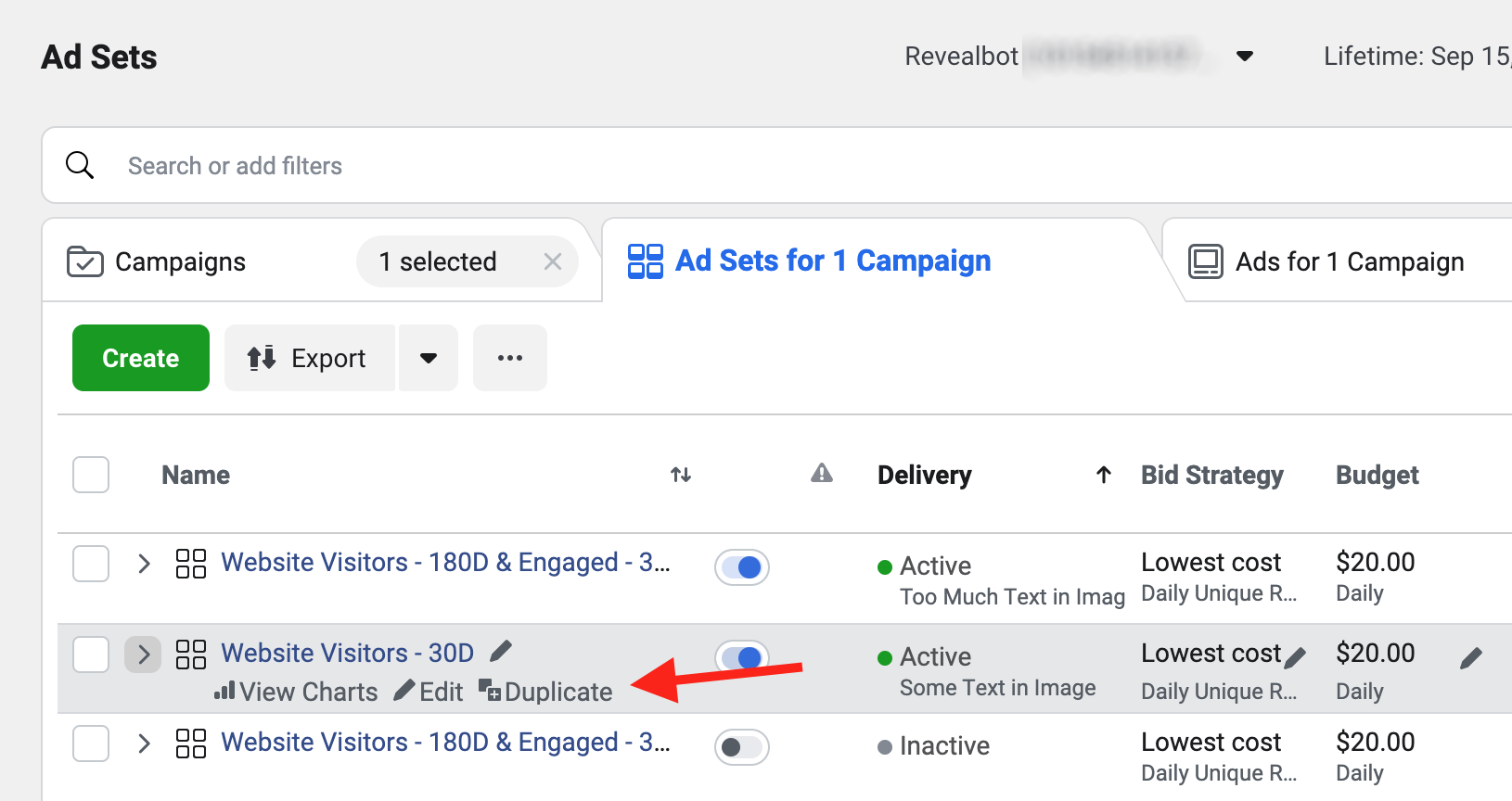 How to duplicate a Facebook Ad Set