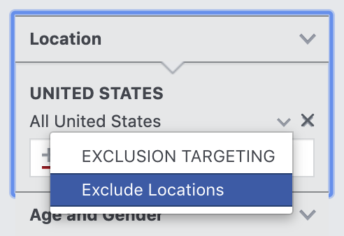How to exclude locations in Facebook Audience Insights