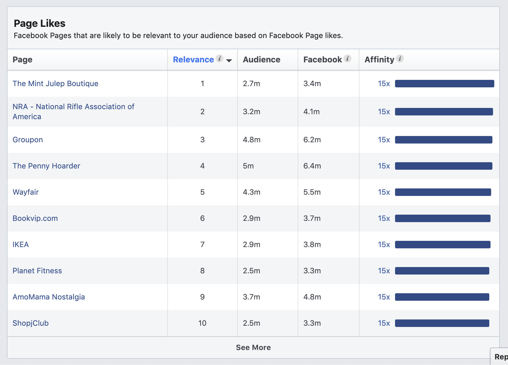 Pages liked Facebook Audience Insights