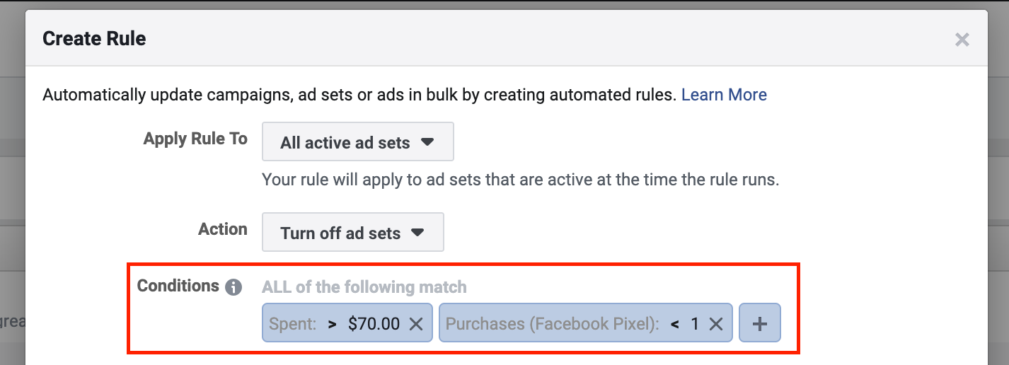 Facebook Automated Rule to Pause an Ad Set