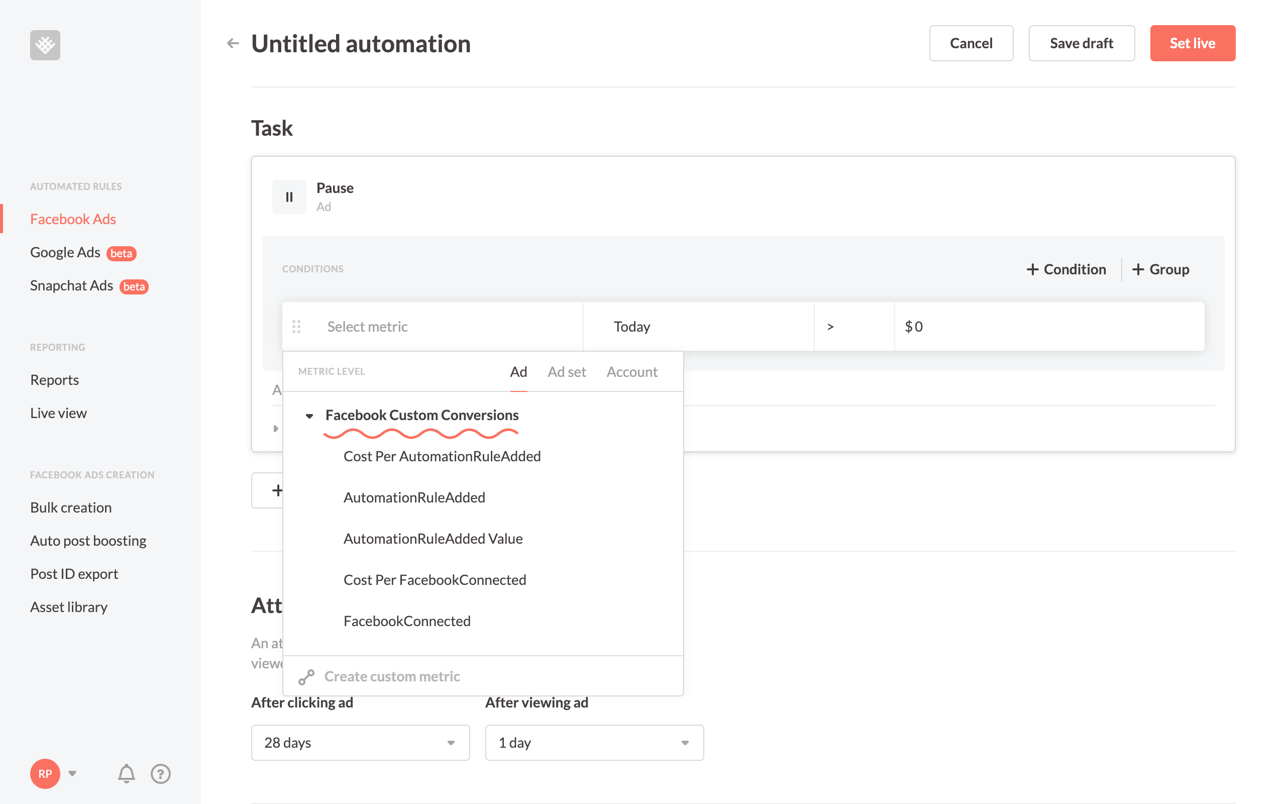 Use custom conversions in Revealbot automated rules