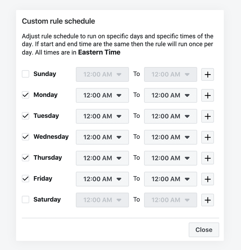 Facebook rule scheduling