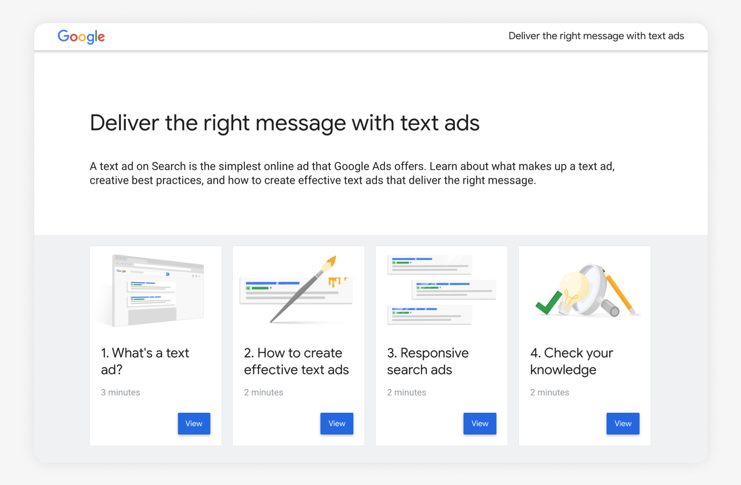 One of the pieces of study material for the Google Ads Search certification