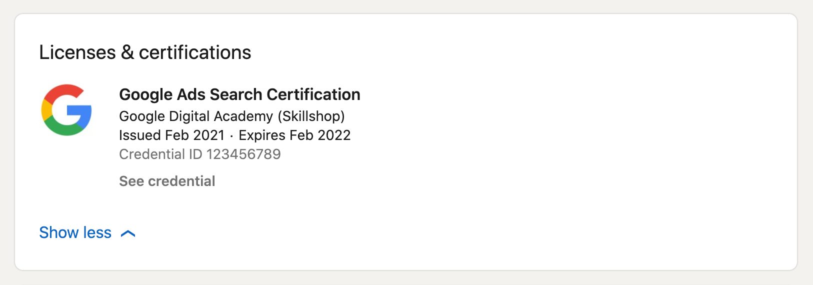 How your Google Ads certification will appear on your LinkedIn profile