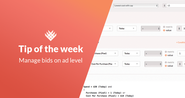 FB Ads tip of the week: manage bids on ad level